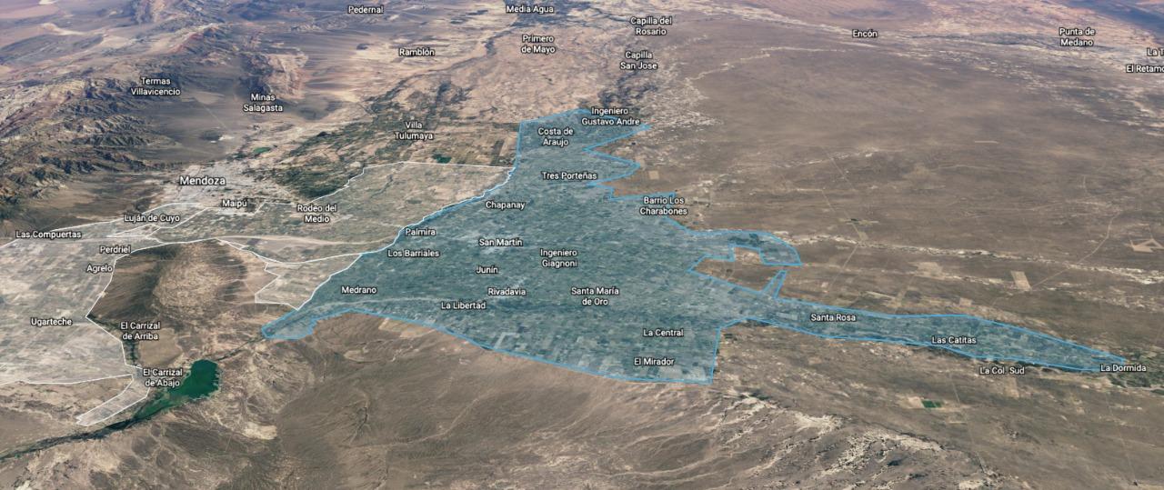 Zonas del Este mendocino
